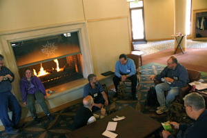 Photo of gathering around the fireplace